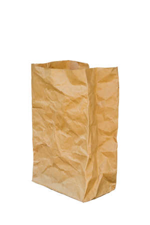 opened bag: rumpled brown paper bag opened, Isolated on a White Background.