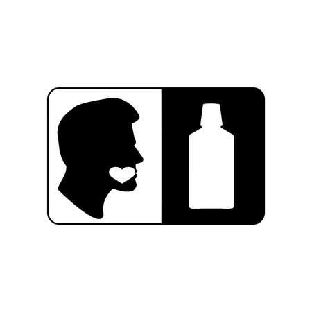 enjuague bucal: signo ilustración vectorial o símbolo de enjuague bucal, amable para todos
