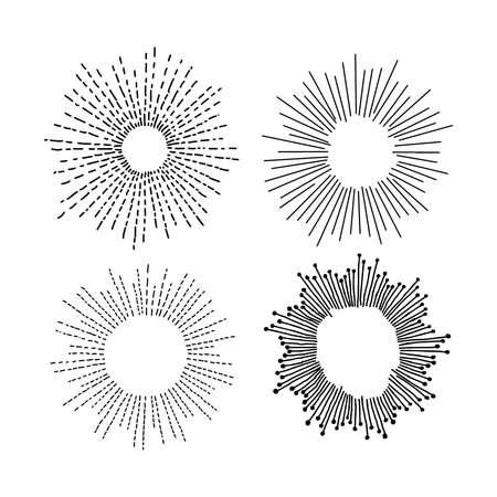 starburst: illustration vector hand drawn doodle set of starburst  isolated on white background