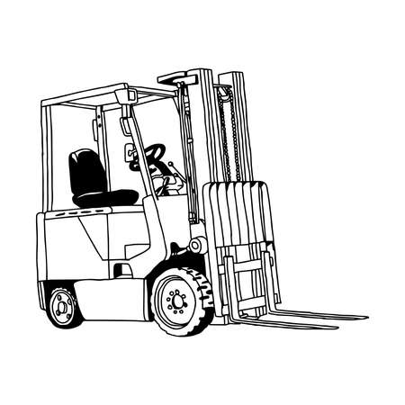 illustration vector hand drawn doodle of Forklift truck isolated on white background