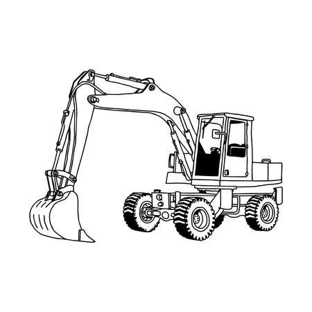 motor hoe: illustration vector hand drawn doodle of hydraulic shovel isolated on white background. Illustration