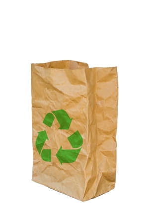 crinkly: rumpled brown paper bag opened with green recycle sign, Isolated on a White Background