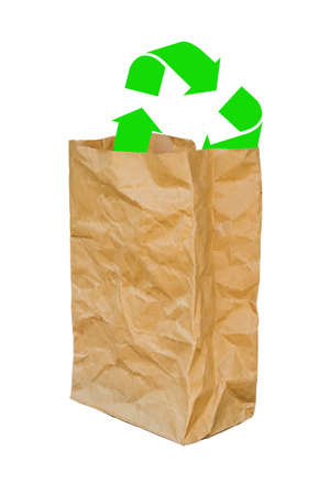opened bag: rumpled brown paper bag opened with green recycle sign, Isolated on a White Background