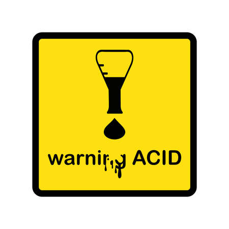illustration vector creative design warning acid with exclamation mark made of beaker and acid drop Stock Illustratie