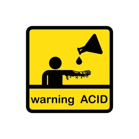 illustration vector creative design of warning acid on square yellow background Illustration