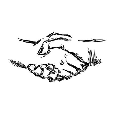 illustration vector doodle hand drawn sketch of handshake, partnership concept Vectores