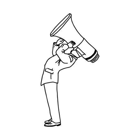 illustration vector doodle hand drawn of businessman with megaphone head. Illustration