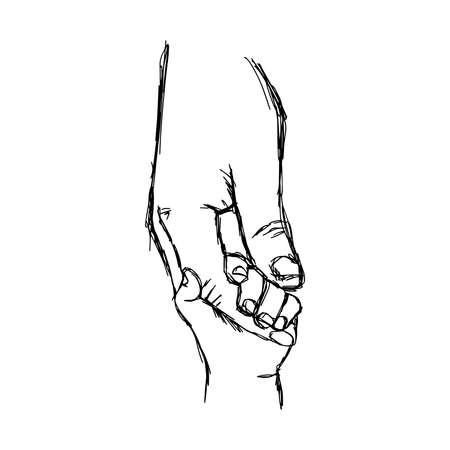 그림 벡터 낙서 부모의 손으로 그린 된 스케치는 작은 아이의 손을 보유하고있다.