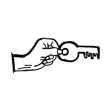 success key: illustration vector doodle hand drawn sketch of human hand holding big success key