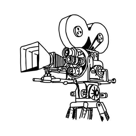 blockbuster: illustration vector doodle hand drawn of movie projector. Illustration