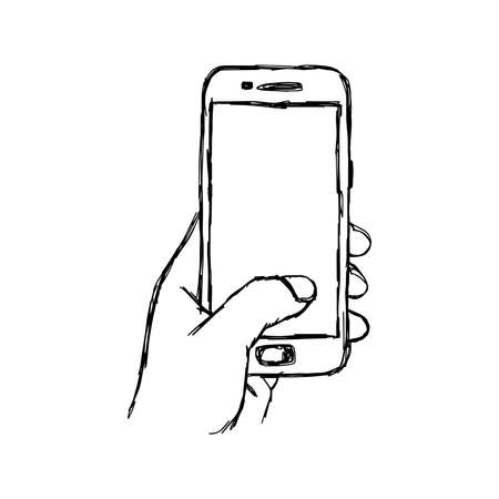 hand holding smart phone: illustration vector doodle hand drawn sketch of human hand using or holding smart mobile phone