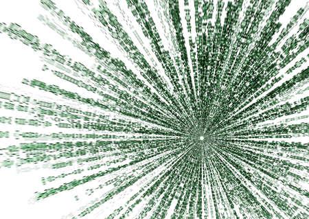 matrix code: starburst matrix code on white background, with speed motion blur.
