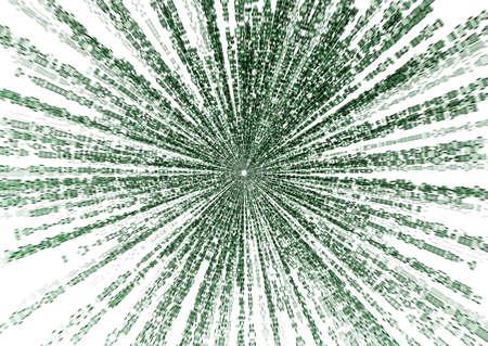 encoded: starburst matrix code on white background, with speed motion blur.