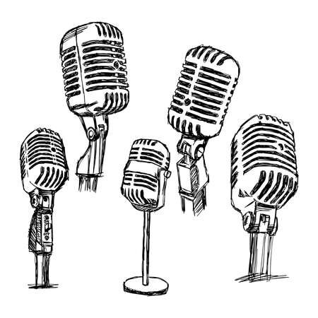 illustration doodle hand drawn retro microphone set, information concept. Vectores