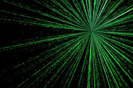 encoded: digital green star burst matrix generated in black background, technology concept. Stock Photo