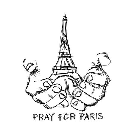 illustration vector doodle hand drawn of sketch hands with Eiffel tower, pray for Paris