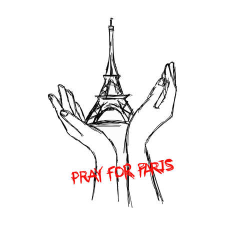 killed: illustration vector doodle hand drawn of sketch hands with Eiffel tower, pray for Paris.
