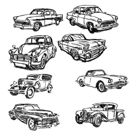 illustration doodle hand drawn of sketch set old car isolated on white background