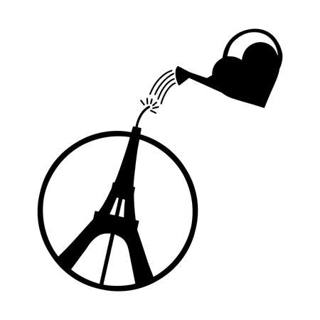 pray for: illustration vector of Eiffel Towerin circle with heart shape watering can , peace symbol icon, Peace for Paris, Pray for Paris, Love Paris