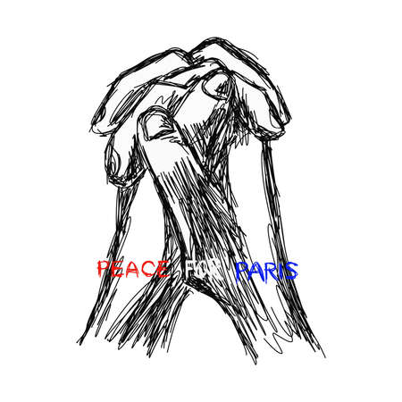 pray for: illustration vector doodle hand drawn of sketch praying hands with words PRAY FOR PARIS