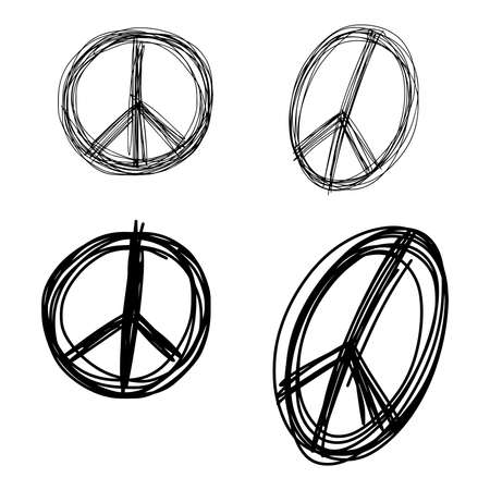 pacifist: illustration vector doodle hand drawn of sketch set peace sign symbol isolated