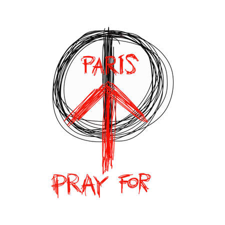 victim war: illustration doodle of sketch Pray for Paris, France and Peace symbol drawing on white Illustration