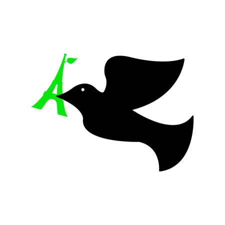 killed: illustration of dove of peace with green eiffel tower in its beak