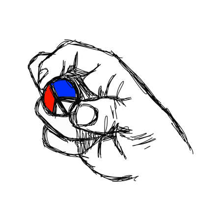 pacificist: illustration doodle of sketch right hand holding peace sign coin with color of French flag, red white and blue Illustration