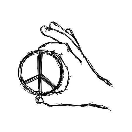 pacificist: illustration doodle  of sketch right hand holding big peace sign coin