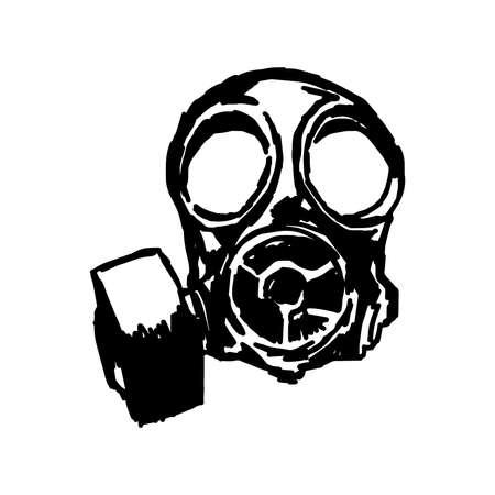 illustratie doodle hand getekende schets van het gasmasker