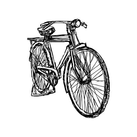illustration doodle of retro bicycle