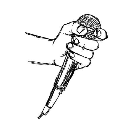 interviewer: illustration doodle  of sketch hand with microphone