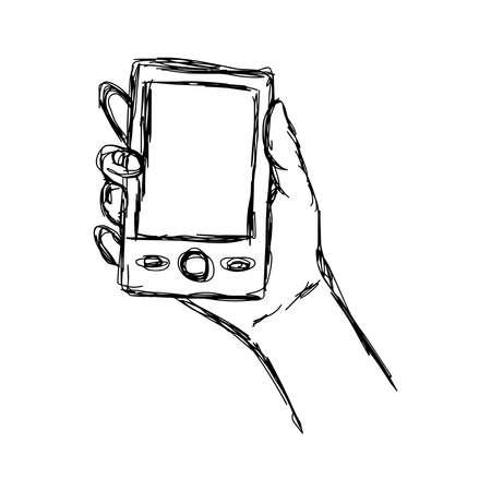 smart phone hand: illustration doodle  sketch of human hand using or holding smart mobile phone