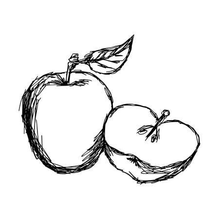 manzana caricatura: ilustraci�n del doodle de la manzana aislado bosquejo Vectores