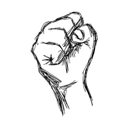 la union hace la fuerza: ilustraci�n del doodle de pu�o levantado boceto, el concepto de protesta.