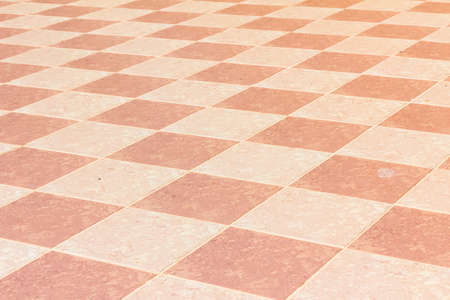 old and pale ceramic tiled floor of temple in thailand, outdoor Stock Photo