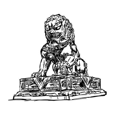forbidden city: illustration vector doodle hand drawn of sketch big bronze lion in forbidden city, China, isolated on white Illustration