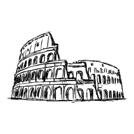 illustration vector doodle hand drawn of sketch the Roman Colosseum, Italy, isolated on white Stock Illustratie