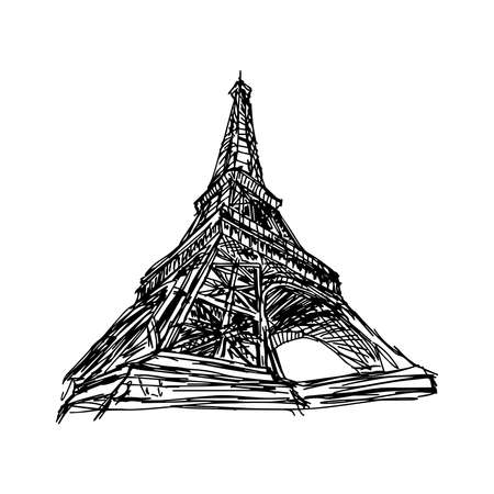 eiffel: illustration vector doodle hand drawn of sketch Paris eiffel tower, France, isolated on white