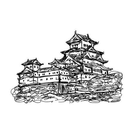 mystic place: illustration vector doodle hand drawn of sketch Himeji jo castle, Japan, isolated on white