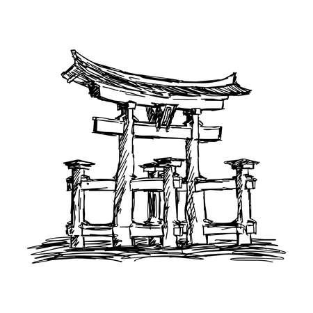 itsukushima: illustration vector doodle hand drawn of sketch itsukushima shrine Landmark in Japan, isolated on white Illustration