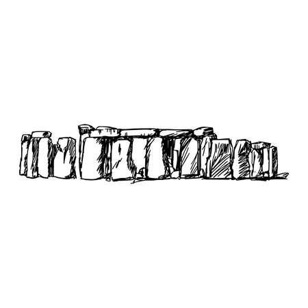 stonehenge: illustration vector doodle hand drawn of sketch stonehenge isolated