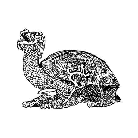 forbidden city: illustration vector doodle hand drawn of sketch bronze statue of a turtle in forbidden city , china, isolated on white Illustration