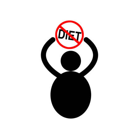 stocky: illustration vector fat man icon with the sign of stop Diet over his head, fatten concept
