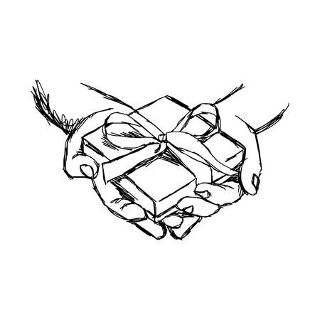 compassionate: illustration vector doodle hand drawn of sketch hand of person giving or receiving gift package, isolated on white background.