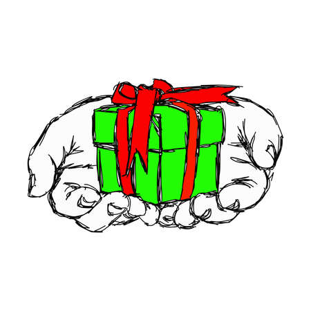 surprise box: illustration vector doodle hand drawn of sketch hand of person giving or receiving green gift package with red ribbon, isolated on white background. Illustration