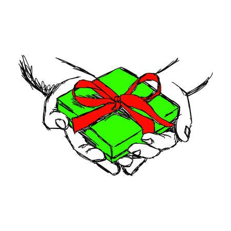 compassionate: illustration vector doodle hand drawn of sketch hand of person giving or receiving green gift package with red ribbon, isolated on white background. Illustration