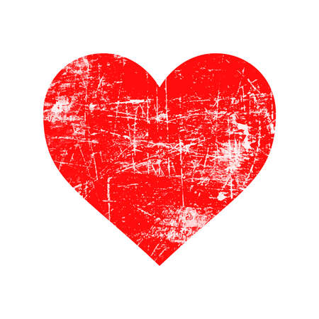illustration vector red grunge rubber stamp with heart shape, love concept