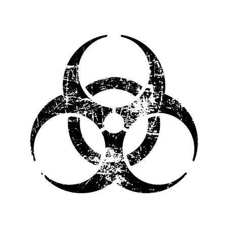 illustration vector black biohazard grungy rubber stamp symbol isolated on white