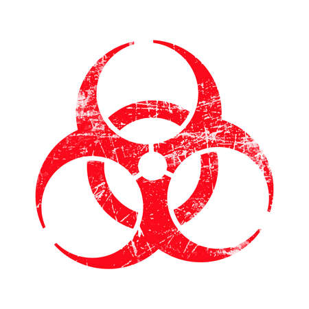 poison symbol: illustration vector red biohazard grungy rubber stamp symbol isolated on white.